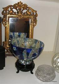 Murano Glass, Gilt Mirror, American Brilliant Glass Powder jar and More