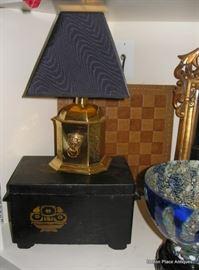 Antique Box, Small Brass Lamp, and Old Checker Board