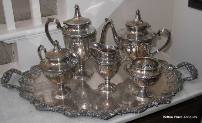Sterling Silver Tea and Coffee Set on a Silverplate Tray