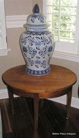 Asian Large Lidded Pot , Round End Table
