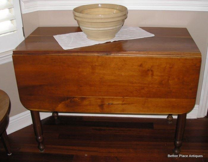 Antique Old Slab Pine Dropside Table