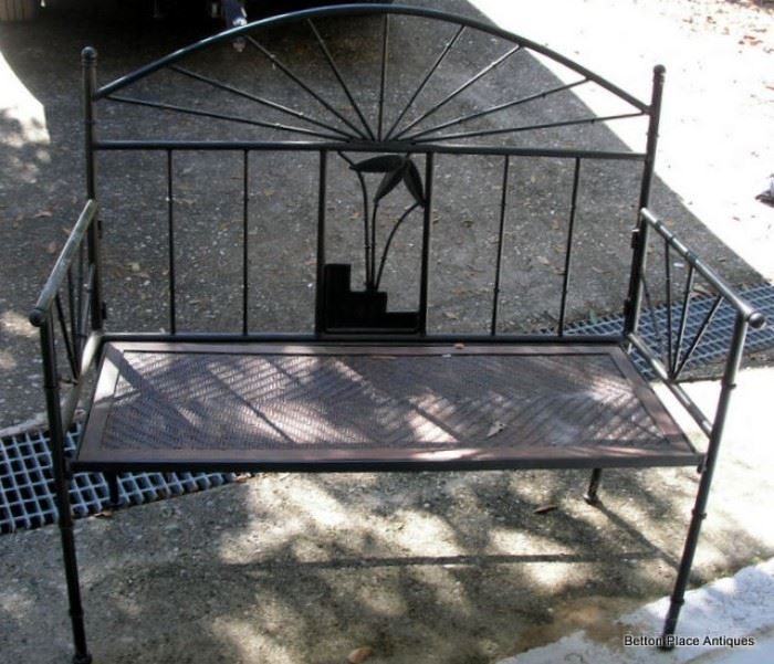 Metal Bench with Bamboo seat