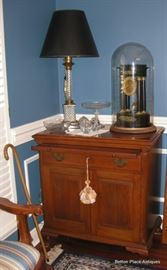 Another Photo of the Mahogany Server, showing Lamp, Clock, cut crystal and more