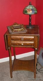Beautiful Antique Oak Work Table, two drawer with dropsides