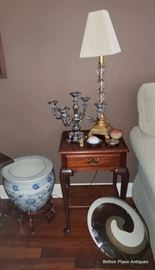 Lam, Table, Asian Planter and Large Murano Glass Charger is browns at the front