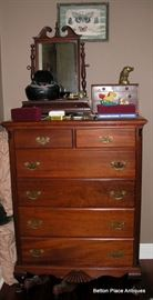 Mahogany Tallboy measuring 20 1/2 inches deep, 36 inches wide, and 48 inches tall.