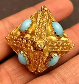 Octahedron-gold with turquoise