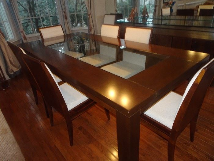 "Glamourous Dining Table with Glass Insert & 8 Chairs - 87""L X 44""W X 30""H"