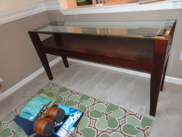 "Console Table with Glass Top - 63""L X  18""D X  32""H"