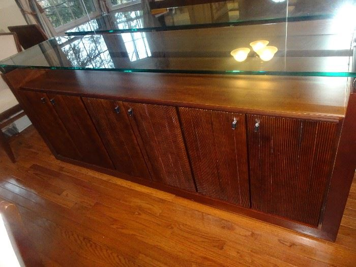 "Modern Console with Glass Top - 79"" W  X  20""D  X  34""H"