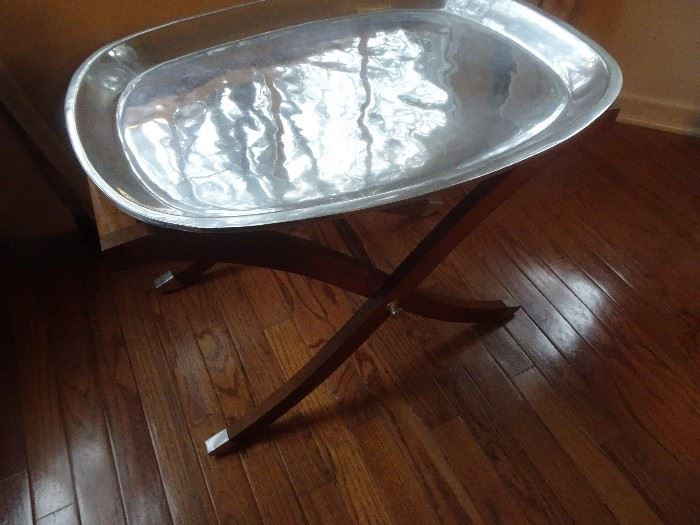 Hand Crafted Silver Tray with stand