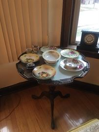 Dishware, Antique Tilt Top Mahogany Table, Antique Clock,