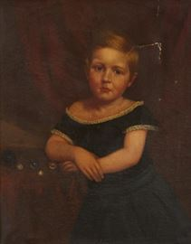 19th Century American School Portrait Of A Girl