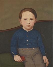 19th Century American School Folk Art Portrait Of A Boy