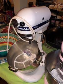 White commercial KitchenAid mixer