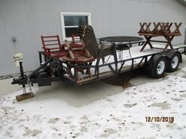 20 FT car hauler with winch 1 year old has a reserve      TRAILER SOLD SOME yard items available
