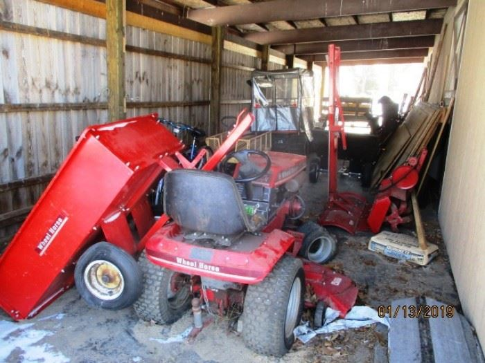 Wheel horse mower and attachmentsl