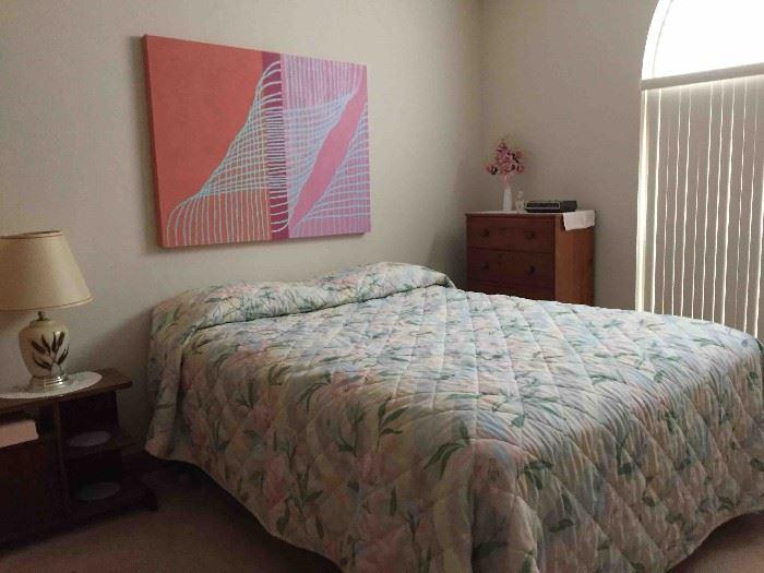 Queen Bed; Antique Walnut Nightstand; 2 Antique Tallboy Dressers