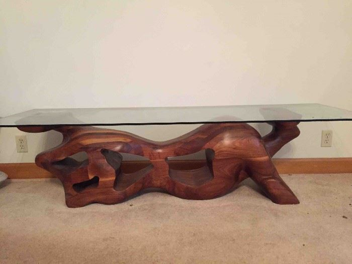 Handcrafted Sculpted Solid Walnut Coffee Table with Glass Top