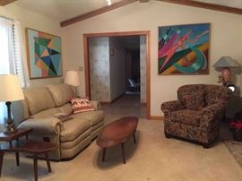 Living Room Furniture: Antique Handcrafted Walnut Slab Coffee Table; Side Chair; LayZ-Boy Leather Reclining Loveseat
