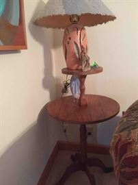 Antique Mid-Century Handcrafted Solid Walnut Pedestal Table; Handcrafted Ceramic Lamp with Paper-Mache' Shade