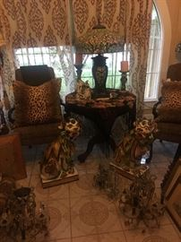 Vintage foo dogs  Vintage chairs and Dale Tiffany stained glass lamp