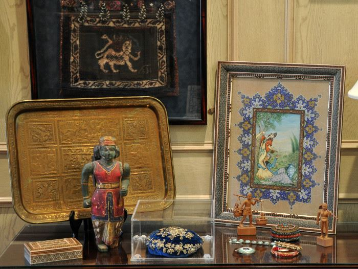 A fine sale including Persian woven saddlebags, hand engraved storyteller tray, Khatam box with micro mosaic inside and out, heavily embellished Lebanese hat, enameled jewelry, fine painting in Khatam frame