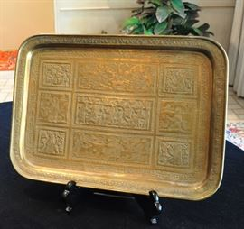 Fine period Persian hand engraved tray with story teller blocks
