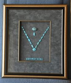 Beautifully framed Persian Nishapur turquoise finished stones for a brooch, ring, bracelet and necklace.  The set was acquired when the family lived in Iran in the 1950s.   The turquoise is named for the city in the area where the turquoise was mined.