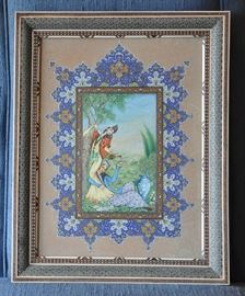 "A beautiful illuminated painting in a intricate Khatam frame - frame size is 19"" by 15"" - gift to client's father from the Iranian Minister of Education.  Visible image size is 15"" by 11.5""."