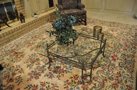 """Living room - outstanding Persian Kerman rug, 12' 8"""" by 9' 2"""" purchased for their home in Tehran in early 1950s."""