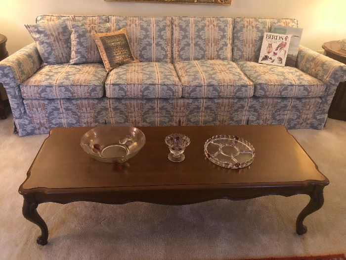 Contemporary Vintage newly reupholstered  4 seater sofa with classic Italian Design and Vintage Lane Coffee Table