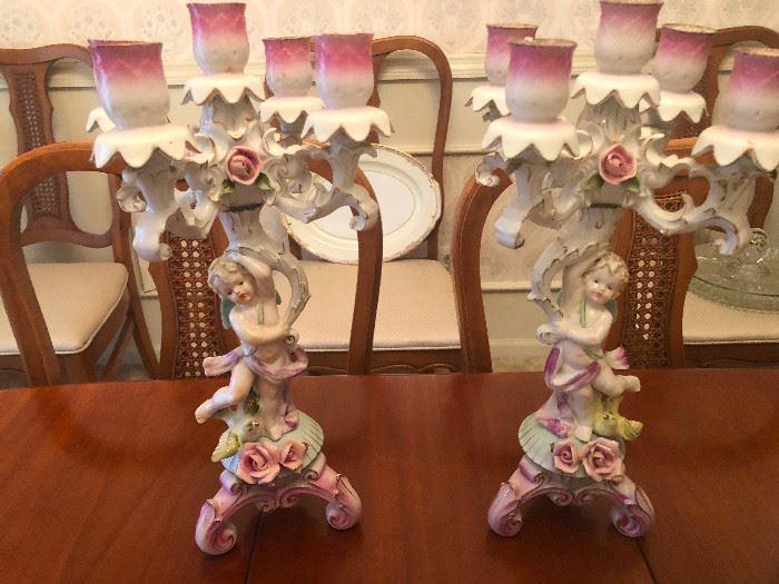 2 Vintage Porcelain Cherub Candelabras