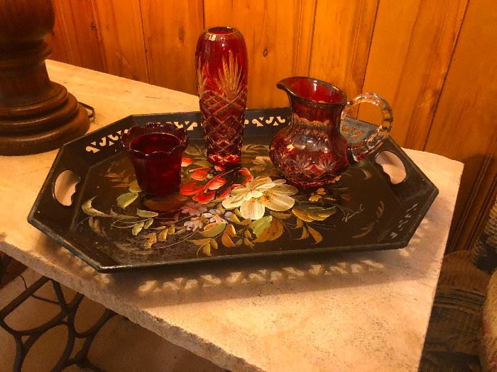 Bohemian Etched Ruby Glass