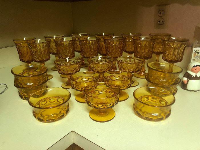 Vintage Depression Glass Amber Goblets and Sherbet Bowls