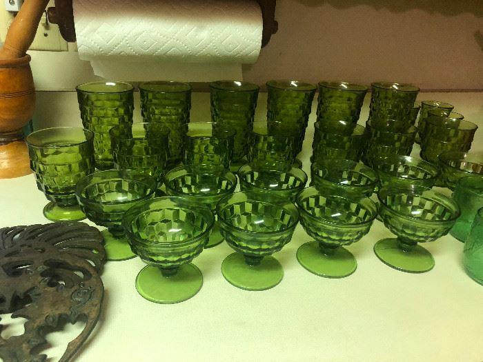 Vintage Depression Glass Green Goblets and Sherbet Bowls