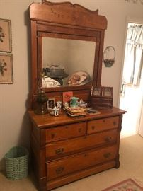 beautiful antique oak dresser with mirror