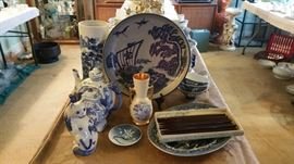 blue and white china pieces. living room