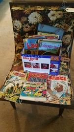 vintage comics - not very many super heros.   living room