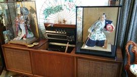 Elaborate Japanese Kimekomi  dolls in cases...Motorola X-300 console stereo...beautiful paper parasol . living room