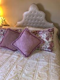 Upholstered headboard and queen mattress set