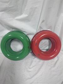 ceramic Bundt pans green and red, Dream City ware, Milwaukee https://ctbids.com/#!/description/share/84412