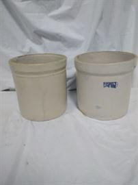 lot of 2 ceramic stoneware Crocks, one is Ruckels stoneware https://ctbids.com/#!/description/share/84415