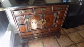one of 2 matching antique Asian cabinets