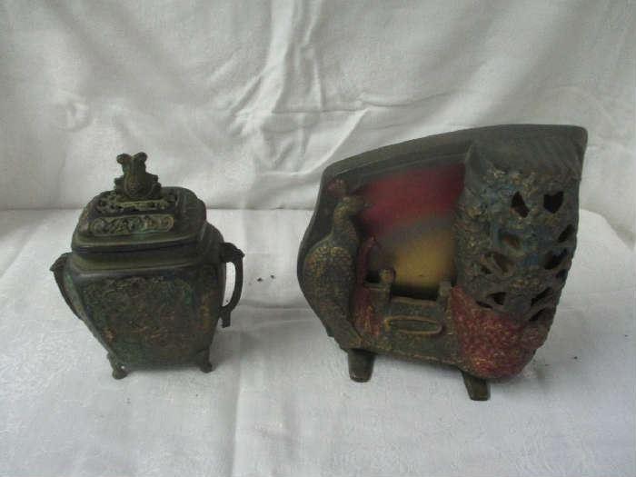Antique cast iron light and jar