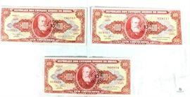 Brazil Cruizeiros Notes - Lot of 7 / Republica dos Estados Unidos do Brasil, (1) 500 Cruzeiros, (3) 100 Cruzeiros, (2) 50 Cruzeiros, (1) 10 Cruzeiros