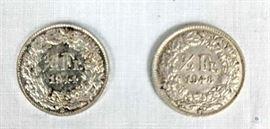 2 Switzerland Francs 1944, 1948 / Switzerland 1/2 Franc Coins, 1944 & 1948, raw
