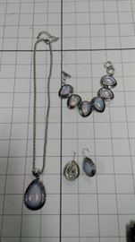 3 piece set: light blue jewel pendant(s)- necklace , earrings , bracelet  https://ctbids.com/#!/description/share/86424