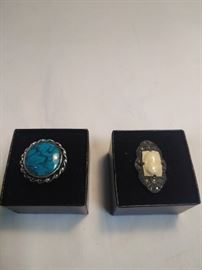 two antique Rings one turquoise and sterling silver, one porcelain and sterling silver