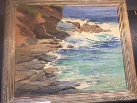 Attributed To Anna Althea Hill Original Oil on Canvas Laguna Coast 20 x 24